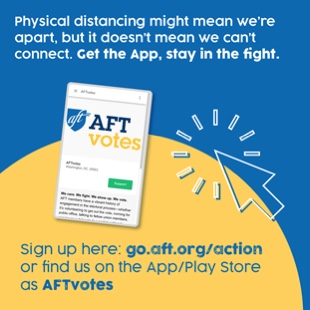 AFTVotes App: Physical distancing might mean we're apart, but it doesn't mean we can't connect. Get the App, stay in the fight.